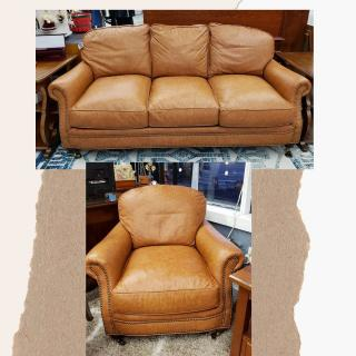 Hand-built, custom butterscotch leather couch and chair by Classic Leather of Hickory, NC.  Retail: $14,404 ZABS Price: $2,880  Epic #ZABSstealz  #Zabsplace #MatthewsNC #CharlotteNC #thriftstore #Thrift #thriftstorefinds
