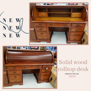 Solid wood rolltop desk made in USA! $225 #ZABSstealz  #charlottenc #matthewsnc #thriftstore