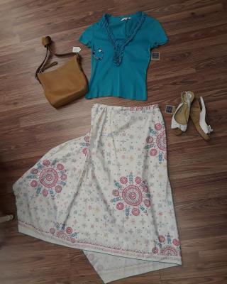 Trina Turk shirt sz. M Peruvian Connection sz. 14 Unisa wedge sz.8  Get the look: Retail: $539 #ZABSSteal Price $62