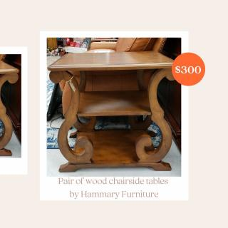 Pair of wood chairside tables by Hammary Furniture. Retail: $1,140 ZABS Price: $300 #ZABSstealz  #matthewsnc #charlottenc #thrift #thriftstore