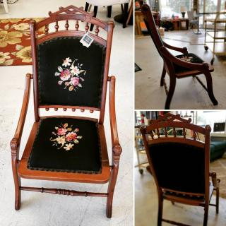 Ever wonder what style chairs were the rage in the 1890's? Checkout this Eastlake style wood folding chair: tapestry, velvet, braid... the works! Own a piece of history! $124 #ZABSstealz