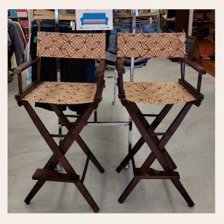 Pair of Pier 1 wood bar height Director's Chairs.  Retail price: $336  ZABSprice: $68  #Zabsplace #MatthewsNC #CharlotteNC #thriftstore #Thrift #Thriftstorefinds #zabsstealz #zabssteal