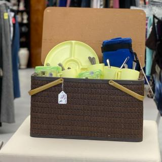 Picnic anyone? As we look forward to sunny days ahead, this picnic basket, along with some creative ideas, will inspire many fun adventures and memories for all! This fun, vintage set is priced at $36!  #zabsstealz  #ZABShasyoucovered #Vintage #ThriftCharlotte