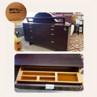 Solid Brazilian wood dresser by Rotta.  6 drawers, one with a sliding in-drawer valet. Includes removable mirror supports - great in a bedroom or as an entertainment stand.  Retail: $600 ZABS Price: $130  #ZABSsteal #getorganized #2021goals #Zabsplace #MatthewsNC #CharlotteNC #thriftstore #Thrift #thriftstorefinds