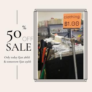 SALE ALERT!  Our $1 rack of clothing is 50% off - that means each piece is only .50 cents! Only today (January 28th) and tomorrow (January 29th).  Come have a look!  #Zabsplace #MatthewsNC #CharlotteNC #thriftstore #Thrift #Thriftstorefinds #zabsstealz